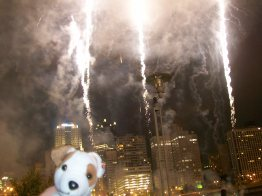 Wishbone and skyrockets in flight, PNC Park, Pittsburgh PA
