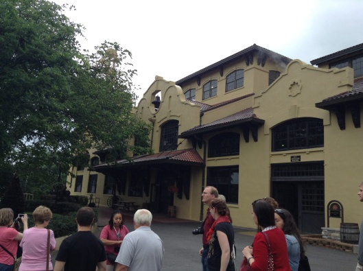 The tour group outside the Four Roses Distillery