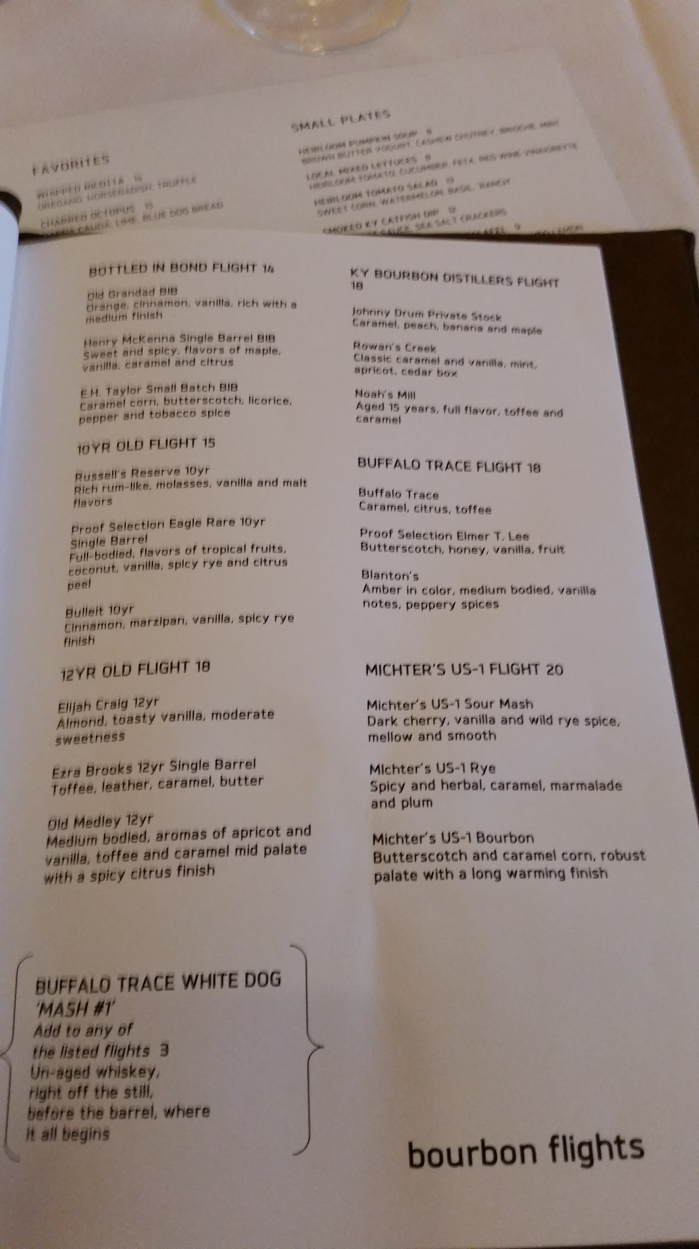 Proof on Main Bourbon Flight Menu