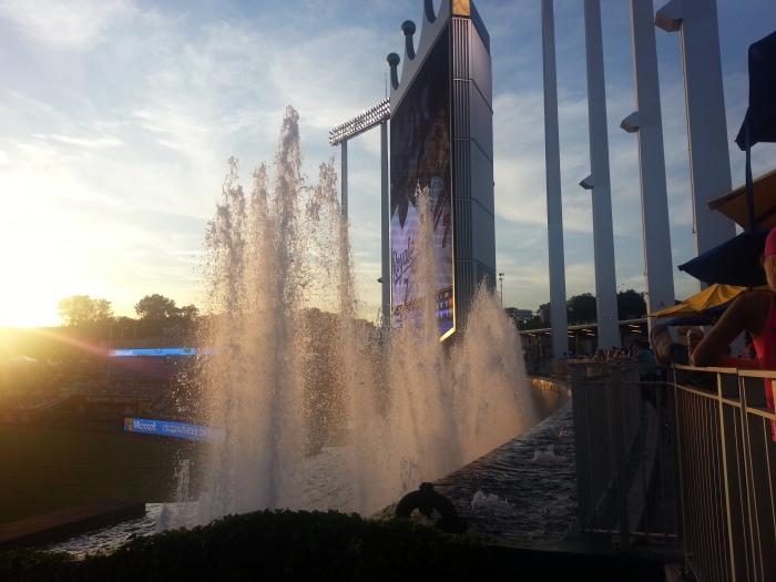 The Kaufmann Stadium fountains really are beautiful