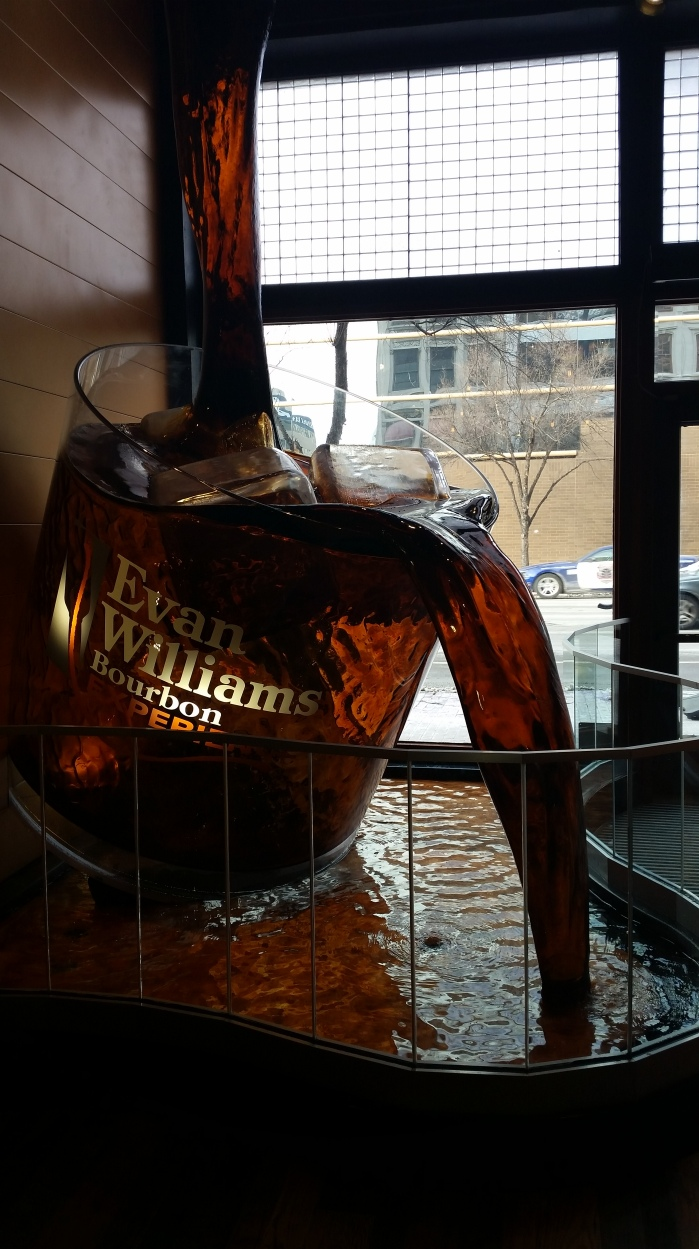 No, it's not real bourbon - the lobby of the Evan Williams Bourbon Experience